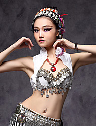 cheap -Belly Dance Tops Women's Performance Cotton Polyester Metal Silver Coin Pleated Sleeveless Tops