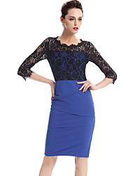 Women's Plus Size / Casual/Daily / Work Street chic Lace Bodycon Dress,Color Block Round Neck Knee-length ¾ Sleeve