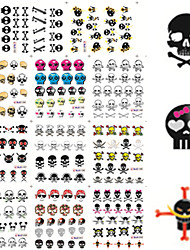cheap -11 Designs Nail Art Halloween Stickers Colorful Skull Image Nail Beauty BLE1192-1202