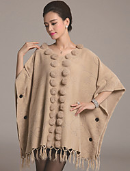 Women's Tassel Plus Size / Casual Long Cloak / Capes,Solid White / Beige / Gray V Neck ½ Length Sleeve Wool / Cotton Fall