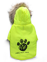 cheap -Cat Dog Coat Hoodie Dog Clothes Floral / Botanical Green Cotton Costume For Pets Men's Women's Keep Warm