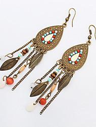 Vintage Fashion Long Tassel Earrings Retro Bohemian Beaded Oval Leaves Dangle Earrings For Women Boucle