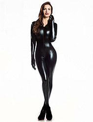 cheap -Women Zentai Bodysuit Jumpsuit Sexy Black Shiny Latex Full Body Zentai Suit Lycra Jumpsuit catsuit With Gloves Halloween/Christmas/New Year