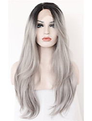 cheap -Long Natural Wave Ombre Black Root to Grey Lace Front Wig Synthetic Hair Wig for Women Half Hand Tied