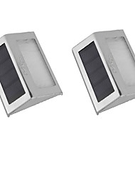 cheap -YouOKLight 2PCS 0.2W 2-LED  White/Warm White Light Control Solar Wall Lamp - Silver