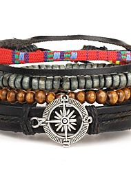 cheap -4pcs/set Punk Men's Bracelet PU Leather Bracelet Compass Adjustable Beads Multilayer for Men Fashion Jewelry