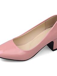 economico -Per donna Scarpe Vernice Primavera / Estate / Autunno Comoda / Decolleté Tacchi Quadrato / Heel di blocco Grigio / Rosso / Rosa / Formale