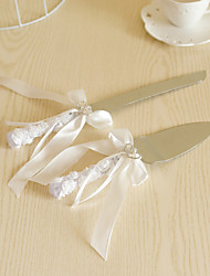 cheap -Wedding Accessories Lace Handle Cake Knife And Server Serving Set with Crystal Heart,White