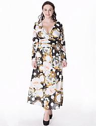 cheap -Women's Plus Size Boho Swing Dress,Print V Neck Maxi Long Sleeve Black / Purple Cotton / Polyester Summer