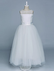 Ball Gown Floor Length Flower Girl Dress - Satin Tulle Sleeveless Jewel Neck with Pearl