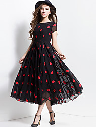 BORME® Women's Round Neck Short Sleeve Bohemia Floral Print Maxi Dress-Z108-2