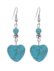 cheap -Bohemian Tibetan Silver Drop Earring Vintage Boho Heart Shape Turquoise Dangle Earrings Jewelry For Women