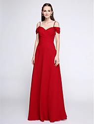 cheap -Sheath / Column Spaghetti Straps Floor Length Chiffon Bridesmaid Dress with Beading Criss Cross by LAN TING BRIDE®