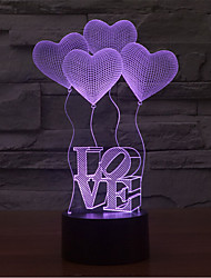 LOVE Touch Dimming 3D LED Night Light 7Colorful Decoration Atmosphere Lamp Novelty Lighting Light