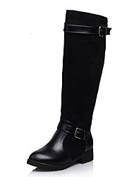 cheap -Women's Leatherette Fall / Winter Motorcycle Boots Boots Low Heel Buckle Black / Brown / Blue