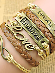 cheap -Unisex Chain Bracelet / Wrap Bracelet / Vintage Bracelet - Leather Love Inspirational, Initial Bracelet Golden For Christmas Gifts / Party / Daily / Leather Bracelet
