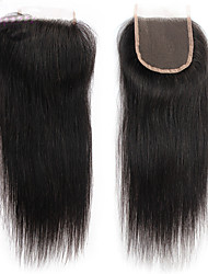 cheap -Straight 100% Hand Tied Swiss Lace Human Hair Free Part Middle Part 3 Part