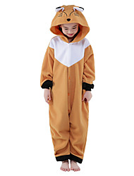 cheap -Kigurumi Pajamas Fox Onesie Pajamas Costume Polar Fleece Brown Cosplay For Kid's Animal Sleepwear Cartoon Halloween Festival / Holiday