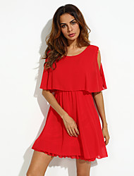 Women's Sexy Casual Cute Plus Sizes Inelastic Short Sleeve Above Knee Dress (Chiffon)