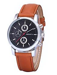 REBIRTH® Men's Women's Unisex Simple Dress Design PU Leather Strap Quartz Wrist Watch Casual Watch Fashion Watch
