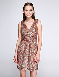 Sheath / Column V-neck Short / Mini Sequined Bridesmaid Dress with Ruching Sequins by LAN TING BRIDE®