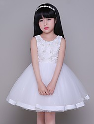 Ball Gown Knee Length Flower Girl Dress - Tulle Sleeveless Jewel Neck with Lace