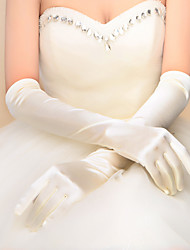 cheap -Elastic Satin Elbow Length Glove Bridal Gloves With Pleated