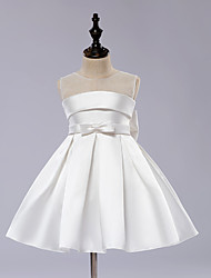 cheap -A-Line Knee Length Flower Girl Dress - Satin Tulle Sleeveless Jewel Neck with Bow(s) Draping Sash / Ribbon by LAN TING BRIDE®