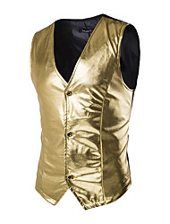 cheap -Men's Fashion Slim Bronzing Performance Single Breasted Vest,Cotton / Spandex Sleeveless Black / Gold / Silver