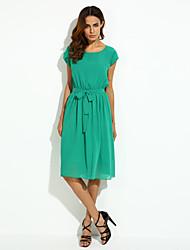 billige -Dame I-byen-tøj Chiffon Swing Kjole - Ensfarvet, Flettet Midi