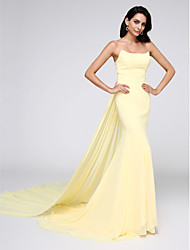 cheap -Mermaid / Trumpet Strapless Watteau Train Chiffon Formal Evening Dress with Pleats by TS Couture®