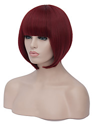 European Charming Bob Style Short Sythetic Wine Red Straight Neat Bang Party Wig For Women
