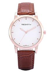 baratos -REBIRTH Mulheres Relógio de Moda / Relógio de Pulso / Rosa Folheado a Ouro / PU Banda Casual / Minimalista Preta / Vermelho / Marrom