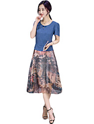 cheap -Women's Plus Size Street chic A Line Dress,Patchwork Round Neck Knee-length Short Sleeve Blue / Red Polyester Summer