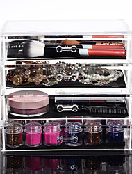cheap -Acrylic Make Up Organizer 4 Drawers Storage Box Clear Plastic Cosmetic Storage Box Organizers