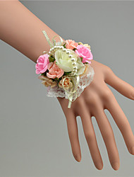 cheap -Wedding Flowers Hand-tied Roses Wrist Corsages Wedding White Tulle / Lace / Bead