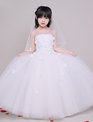 cheap -A-Line Floor Length Flower Girl Dress - Tulle Sleeveless Jewel Neck with Flower by LAN TING Express