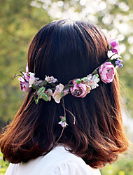 cheap -Purple Beautiful Rose Flower Wreaths Headband for Lady Wedding Party Holiday Hair Jewelry