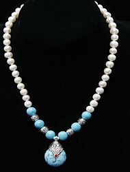 cheap -Fresh Water Pearl With Turquoise Necklace Wedding/Special Occaision / Party Jewelry