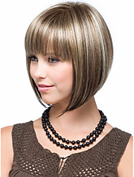 cheap -Blonde Brown mix Wig Silky Straight Short CLASSY Bob Style Synthetic Wigs for Women free shipping