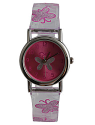 cheap -Kids' Fashion Watch Quartz Water Resistant / Water Proof Plastic Band Casual Butterfly Purple
