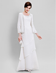 cheap -Sheath / Column Scoop Neck Floor Length Chiffon Mother of the Bride Dress with Beading by LAN TING BRIDE® / Wrap Included