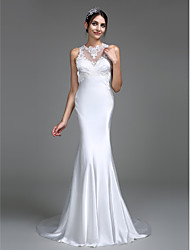 Mermaid / Trumpet Illusion Neckline Court Train Charmeuse Wedding Dress with Appliques Button by LAN TING BRIDE®