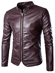 cheap -Men's Long Sleeve Casual / Formal / Plus Size Jacket,Special Leather Types Solid Black / Red