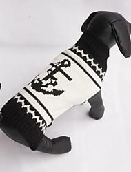 abordables -Gato Perro Suéteres Ropa para Perro Marinero Negro Algodón Disfraz Para mascotas Hombre Mujer Casual/Diario Moda
