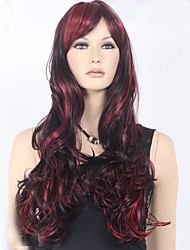 cheap -European and American Ppopular High Quality Black Burgundy Mix Color Long Curly Hair Synthetic Wigs