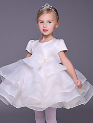 Недорогие -бальное платье короткий / мини цветок девушка платье - органза короткие рукава жемчужина шея с лук (ы) by lovelybees