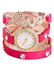 Femme Montre Tendance Bracelet de Montre Quartz Montre Décontractée Cuir Bande Perles Blanc Rouge Marron VertOrange Rouge Rose Vert Bleu