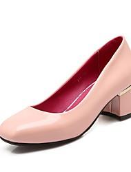 Feminino-Saltos-Saltos / Bico Quadrado-Salto Grosso-Preto / Rosa / Vermelho / Branco-Couro Envernizado-Escritório & Trabalho / Casual