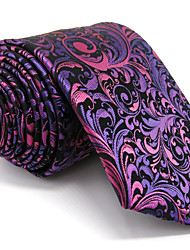 Men's Purple Floral Tie 100% Silk Business Dress Casual Long